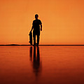 Silhouette Of Man With Skateboard, Berlin by Atomare Aufruestung