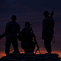Silhouette Of U.s Marines On A Bunker by Terry Moore