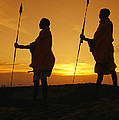 Silhouetted Laikipia Masai Guides by Richard Nowitz