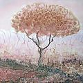 Silk Tree In Brown And Purple  by Rachel Hershkovitz