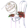 Silver French Horn On Silver Chair by Garry Gay