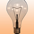 Single Light Bulb On Coloured Background by Calysta Images