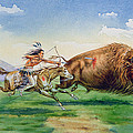 Sioux Hunting Buffalo On Decorated Pony by American School