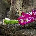 Sitting Buddha In Meditation Position With Fresh Orchid Flowers by U Schade