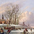 Skaters On A Frozen River Before Windmills by Dutch School