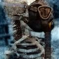 Skeleton In Gas Mask by Jill Battaglia