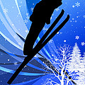 Ski Jumping In The Snow by Elaine Plesser