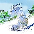 Ski Sledding Blue Polar Bear by Andee Design