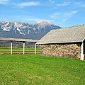 Slovenian Hayrack And Woodpile by Greg Matchick