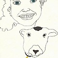 Smiling Child With Lamb by Antoinette Wetzel