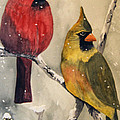 Snow Cardinals by Diane Vasarkovy