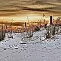 Snow Fence On Horizon by Michael Thomas