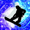 Snowboarder In Whiteout by Elaine Plesser