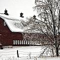 Snowy Red Barn by Edward Peterson