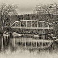 Snyder Road Bridge At Green Lane Park In Sepia by Bill Cannon