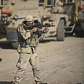 Soldier Fires A M4 Carbine by Terry Moore