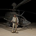 Soldier Holding A .50 Caliber Machine by Terry Moore