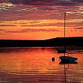 Solitary Sailboat At Sundown by Mark Sellers