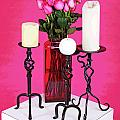 Spa Roses And Candles by Larry Oskin