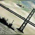 Space Shuttle And San Francisco Bay Bridge  by Blake Richards