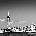 Spinnaker Tower And Round Tower Portsmouth Bw by Gary Eason