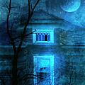 Spooky House With Moon by Jill Battaglia