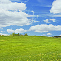 Spring Farm Landscape With Blue Sky In Maine by Keith Webber Jr