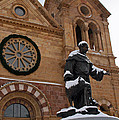 St Francis Cathedral In Santa Fe - Winter by Elizabeth Rose