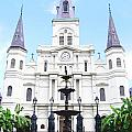 St Louis Cathedral And Fountain Jackson Square French Quarter New Orleans Film Grain Digital Art by Shawn O'Brien