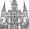 St Louis Cathedral And Fountain Jackson Square French Quarter New Orleans Photocopy Digital Art by Shawn O'Brien