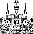 St Louis Cathedral On Jackson Square In The French Quarter New Orleans Photocopy Digital Art by Shawn O'Brien