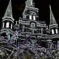 St Louis Cathedral Rising Above Palms Jackson Square New Orleans Glowing Edges Digital Art by Shawn O'Brien