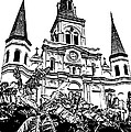 St Louis Cathedral Rising Above Palms Jackson Square New Orleans Stamp Digital Art by Shawn O'Brien