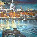 St Pauls Cathedral With Millenium Bridge by Patricia Clements