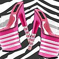 Stack 'em High Pink Platforms On Zebra by Elaine Plesser