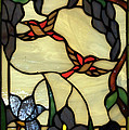 Stained Glass Humming Bird Vertical Window by Thomas Woolworth