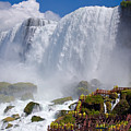 Stairs And Yellow Raincoats Near American Falls by Kiril Strax