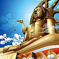 Statue Of Big Buddha On Blue Sky. by Kittisak Taramas