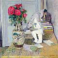 Statuette By Maillol And Red Roses by Edouard Vuillard