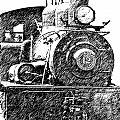 steam Engine pencil sketch by Randy Harris