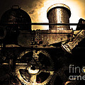 Steampunk Railway Transcontinental Line . Where Steam Is Still King . Gold Version by Wingsdomain Art and Photography