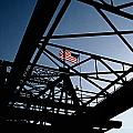 Steel Bridge With American Flag by Gabe Palmer