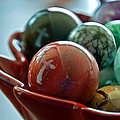 Still Life Crosses Reflected In Bowl Of Glass Marbles Art Prints by Valerie Garner