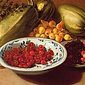 Still Life Of Cherries - Marrows And Pears by Italian School