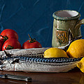 Still Life With Mackerels Lemons And Tomatoes by Juan Carlos Ferro Duque