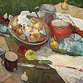 Still Life With Onions And Cucumbers by Juliya Zhukova