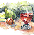 Still Life With Red Wine Glass by Miki De Goodaboom