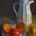 Still Life With White Carafe And Oranges by Judith Reidy
