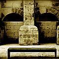 Stone Face - Limestone Windows Column And Bank Create A Misterious Face by Pedro Cardona Llambias