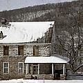 Stone Farmhouse In Snow by John Stephens